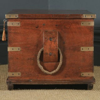 Antique English Victorian Teak & Brass Mounted Campaign Trunk Blanket Box / Chest / Coffee Table (Circa 1850)