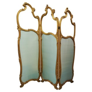 French Giltwood and Silk Three-Fold Screen