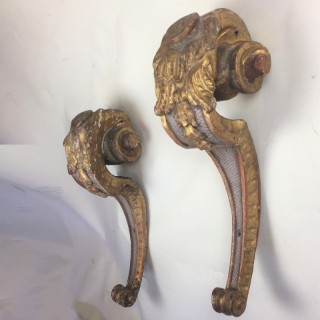 Pair carved giltwood scrolled monopodia/wall corbels