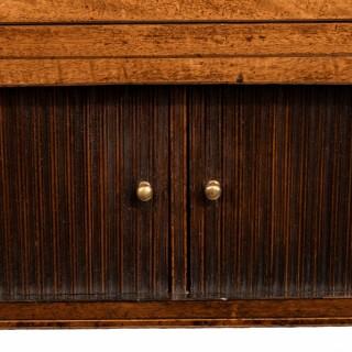 A George III breakfront yew-wood inlaid mahogany sideboard