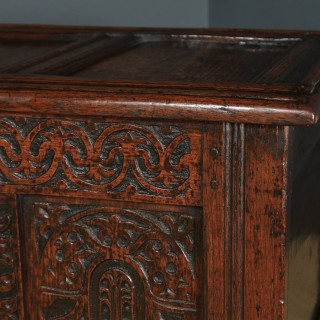 Antique English Georgian Oak Carved Triple Panel Coffer Chest Blanket Box (Circa 1730)
