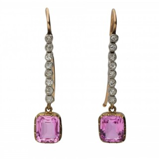 Edwardian pink topaz and diamond earrings, circa 1905.