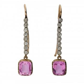 Edwardian pink topaz and diamond earrings, circa 1905.