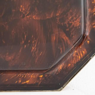 Large 70s Christian Dior Faux Tortoiseshell Tray With Brass Edging