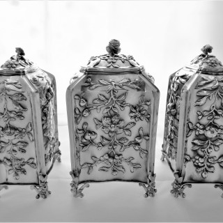 Superb set 3 armorial & crested early George III silver caddies London 1766/7 Vere & Lutwyche