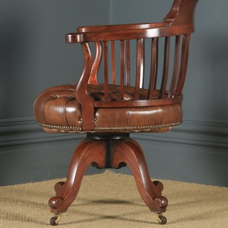 Antique English Victorian Mahogany & Brown Leather Revolving Office Desk Chair (Circa 1880)