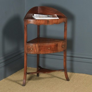 Antique English Regency Bow Front Mahogany & Inlaid Corner Display Table Whatnot Washstand (Circa 1810)