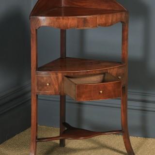 Antique English Regency Bow Front Mahogany & Inlaid Corner Display Table Whatnot Washstand (Circa 1810)
