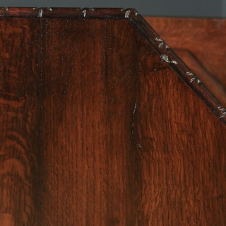 Antique English Victorian Oak Gothic Style Carved Octagonal Occasional Pedestal Table (Circa 1860)