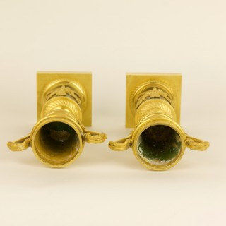 Pair of French Empire Gilt Bronze Love Symbols Candlesticks or Cassolettes