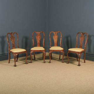 Antique English Edwardian Queen Anne Style Set of 4 Four Burr Walnut Dining Chairs (Circa 1900)