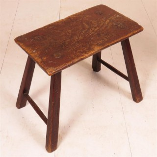 A late 18th c. painted  ash stool