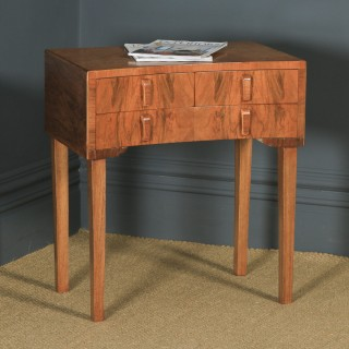 Antique English Art Deco Figured Walnut Concave Bedside / Occasional Side Table (Circa 1930)