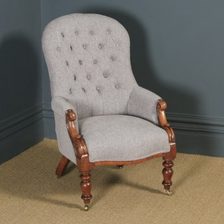 Antique English Victorian Mahogany Grey Upholstered Armchair (Circa 1870)