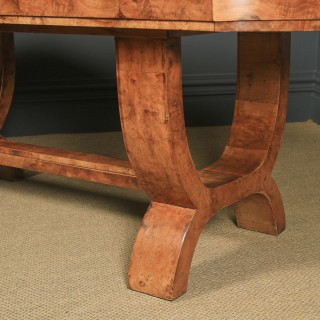 Antique English Art Deco Epstein Burr Walnut Dining Table & Six Leather Dining Chairs (Circa 1930)