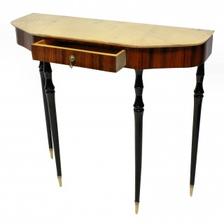 AN ITALIAN MID CENTURY CONSOLE WITH MARBLE TOP