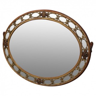 Gilded Walnut Oval Overmantel Mirror