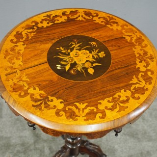 Marquetry Inlaid Walnut Wine Table
