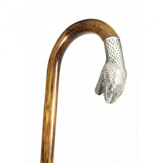 Antique Walking Stick Cane with Silver Snake's Head 19th C