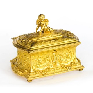 Antique Monumental French Ormolu Casket With Cupid 19th Century