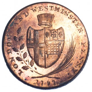 LONDON, LAMBETH, SKIDMORE, PENNY TOKEN, 1797