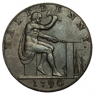 WARWICKSHIRE, JOHN WILKINSON, UNIFACE, HALFPENNY TOKEN, 1790