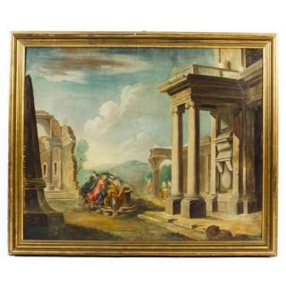 Antique Oil Painting 'Classical Roman Ruins' c.1880 19th C
