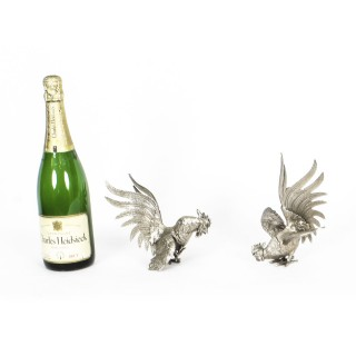 Antique Pair French Silver plated fighting cockerels C 1880 19th C