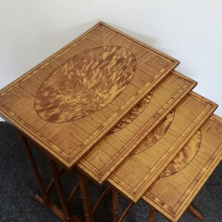 FINE QUALITY EDWARDIAN SATINWOOD NEST OF FOUR TABLES