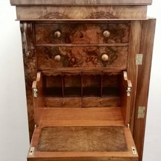 19TH CENTURY BURR WALNUT SECRETAIRE WELLINGTON CHEST
