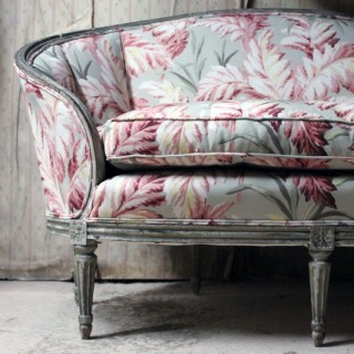 A 19thC French Painted & Upholstered Settee c.1880