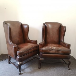 PAIR OF LARGE LATE 19TH CENTURY QUEEN ANNE STYLE LEATHER WINGBACK ARMCHAIRS