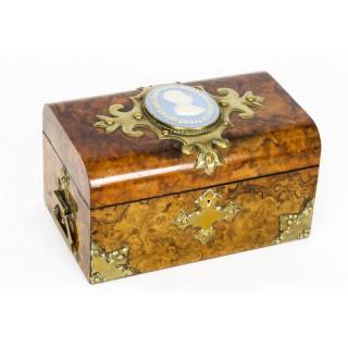 Antique Burr Walnut Casket Inset Jasper Ware Porcelain Plaque 19th Century