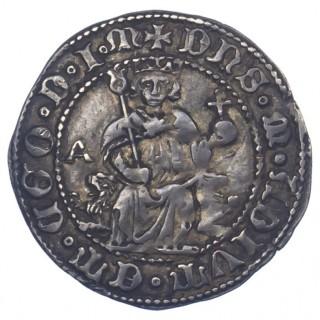 ITALY, NAPLES, ALFONSO I OF ARAGON, SILVER CARLINO