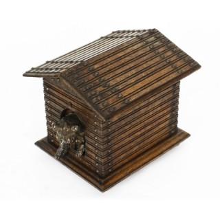 Antique Oak Black Forest Dog Kennel Cigar Box Humidor C1880 19th C