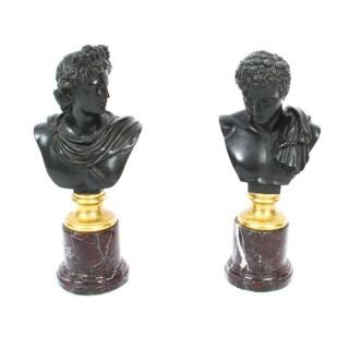 Antique Pair French Grand Tour Bronze Busts Mercury & Apollo 19th C