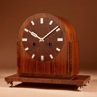 A very Stylish Art Deco Kienzle Walnut, Burr Walnut and Chrome Mantel Clock.