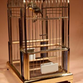 An Art Deco Brass Very Decorative Bird Cage Circa 1920