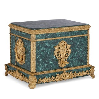 Neoclassical style malachite and gilt bronze jewellery casket