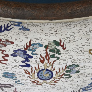 Very large Chinese enamel jardinière on wooden stand