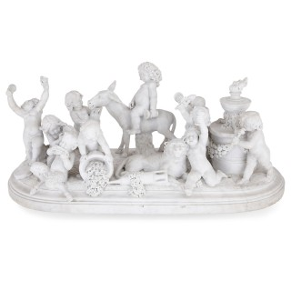 Large marble sculpture of Silenus and his entourage by Paul Brou