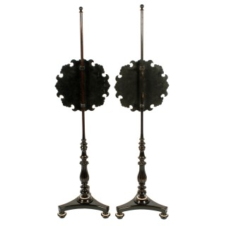Pair of Edwardian Pole Screens
