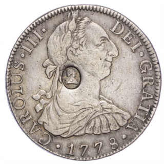 GEORGE III (1760-1820), OVAL COUNTERMARK STRUCK ON SPANISH EIGHT REALES OF KING CHARLES III, 1778