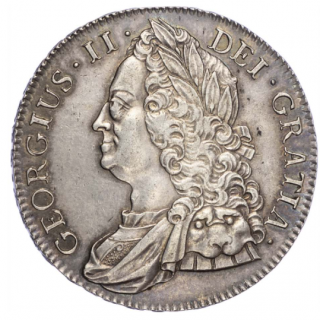 GEORGE II (1727-60), CROWN, 1743, ROSES IN ANGLES, OLDER BUST, EDGE D. SEPTIMO