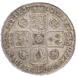 GEORGE II (1727-60), CROWN, 1741, ROSES IN ANGLES, YOUNG BUST, EDGE DECIMO QVARTO