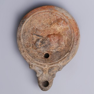 Ancient Roman Oil Lamp with Venationes