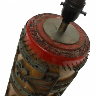 A LARGE VICTORIAN PRINT ROLLER LAMP