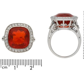 Edwardian fire opal and diamond coronet cluster ring, circa 1915.