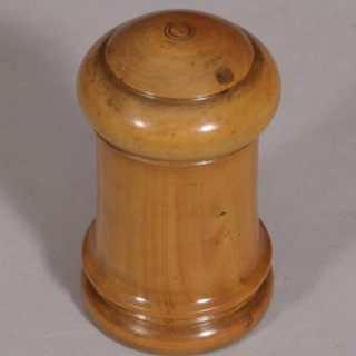 Antique Treen 19th Century Boxwood Lidded Sander or Pounce Pot