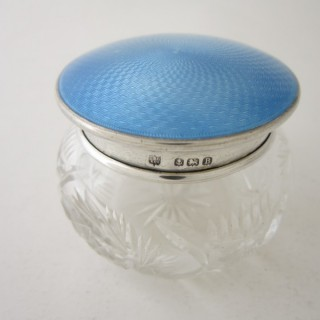 Antique George V Sterling silver and enamel glass jar